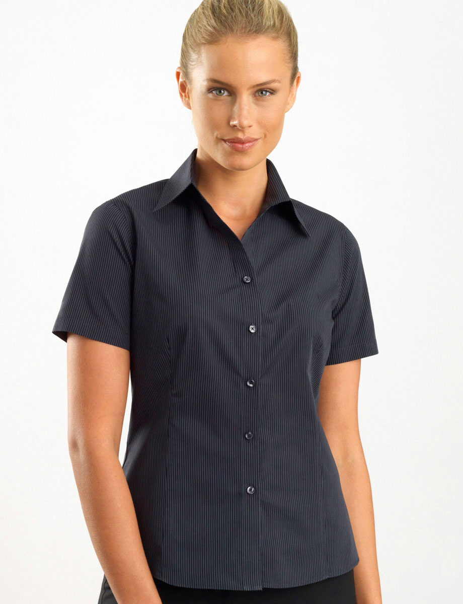 Style 137 Charcoal - Womens Short Sleeve Dark Stripe - John Kevin | Business Shirts