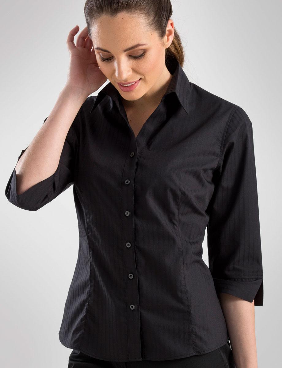 4aec349c11b Style 360 Black - Womens 3 4 Sleeve Self-Stripe - John Kevin ...