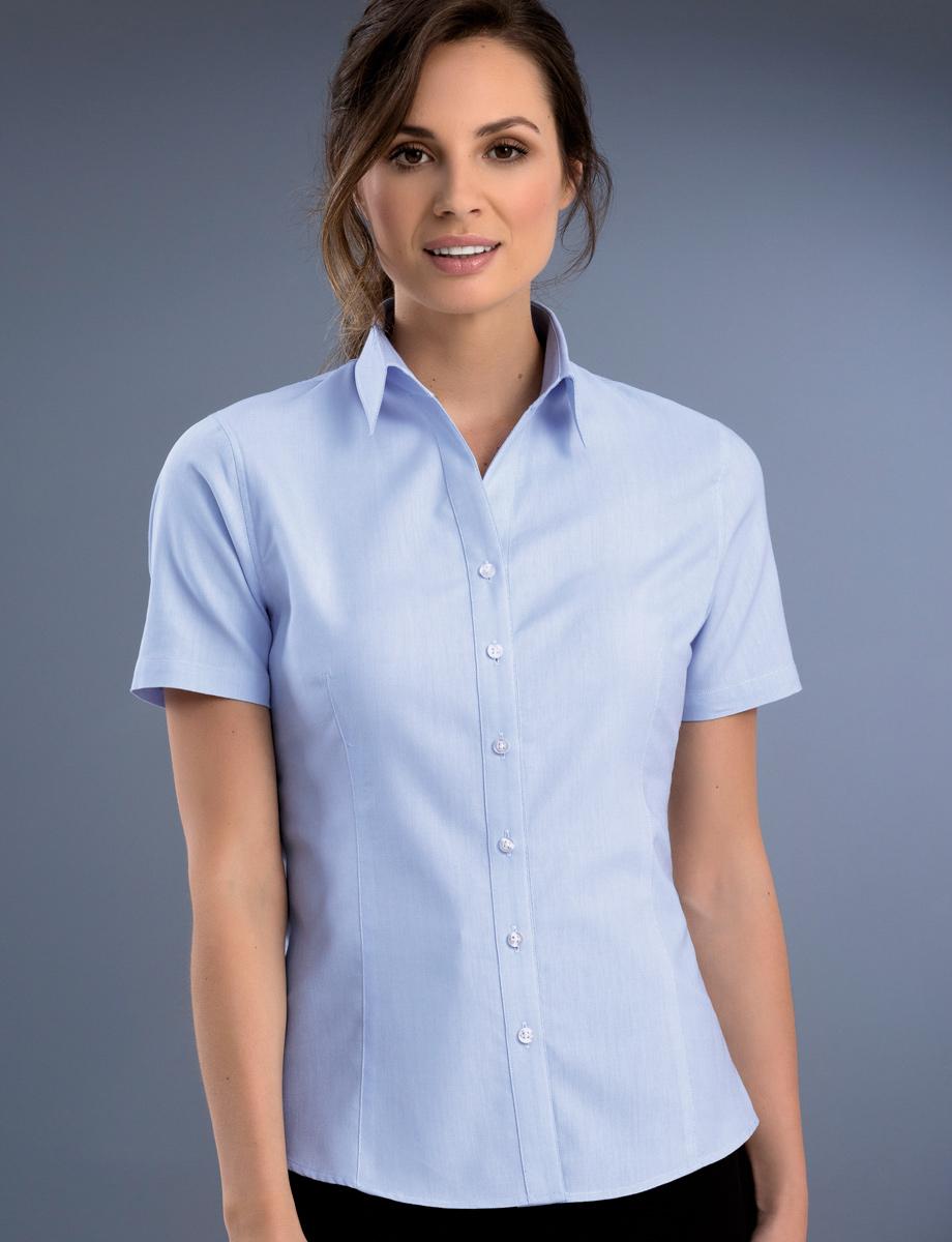 Style 739 Sky - Womens Slim Fit Short Sleeve Pinpoint Oxford - John ... 2fb78dbaf
